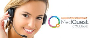 Woman with headset answering a phone call